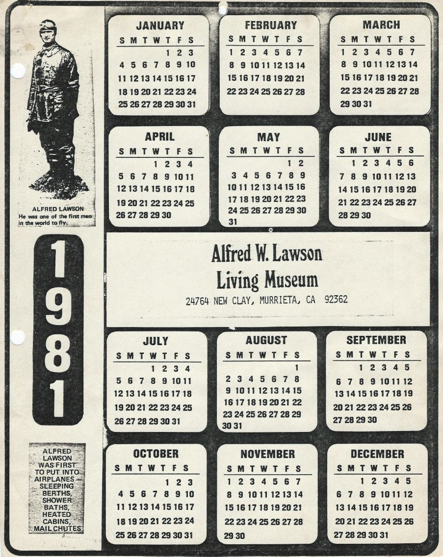 Alfred W Lawson Living Museum Yearly Sheet Calendars From The