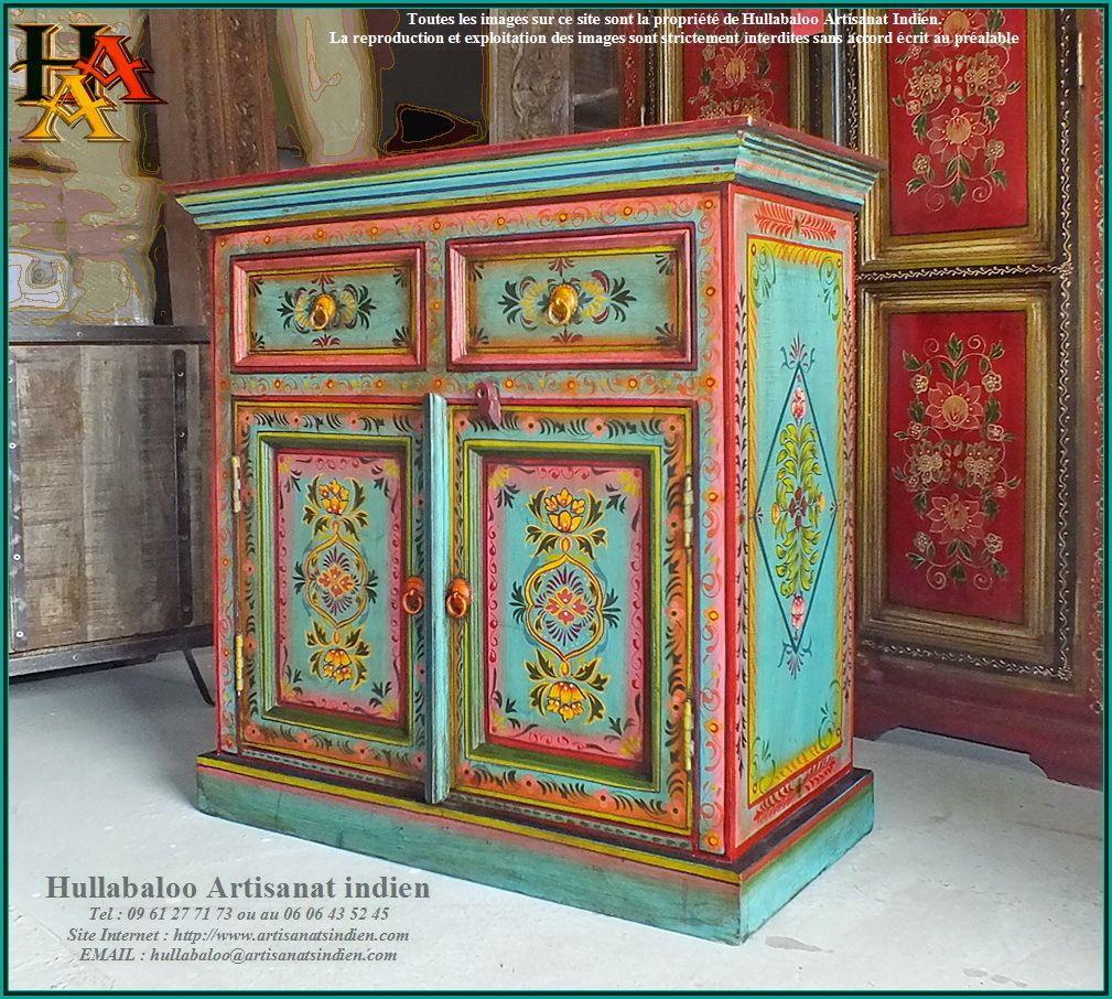 Buffet Indien Peint Jn9 Cav39 Mobilier De Salon Des Meubles Colores Buffet Indien