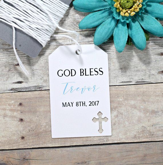 White Baptism Tags Set of 20 Small Personalized Favor Tags for Christening God Bless