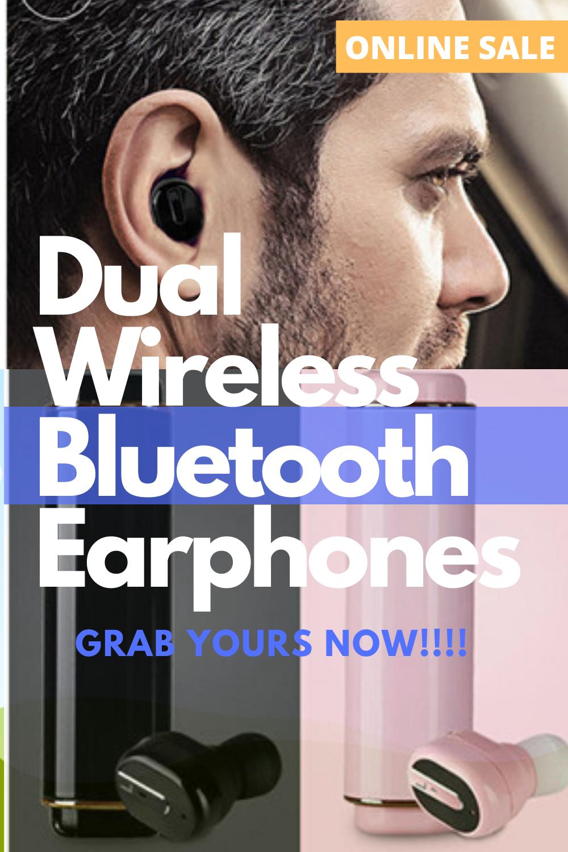 Wireless Dual Bluetooth Earphones Stereo Headphones With Charging Box In 2020 Bluetooth Earphones Bluetooth Headphones Wireless