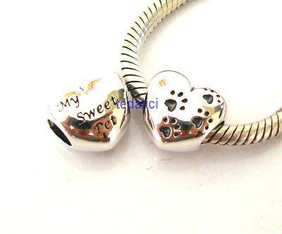 925 Sterling Silver Popular Love Heart CZ Bead Fit European Charm Bracelet