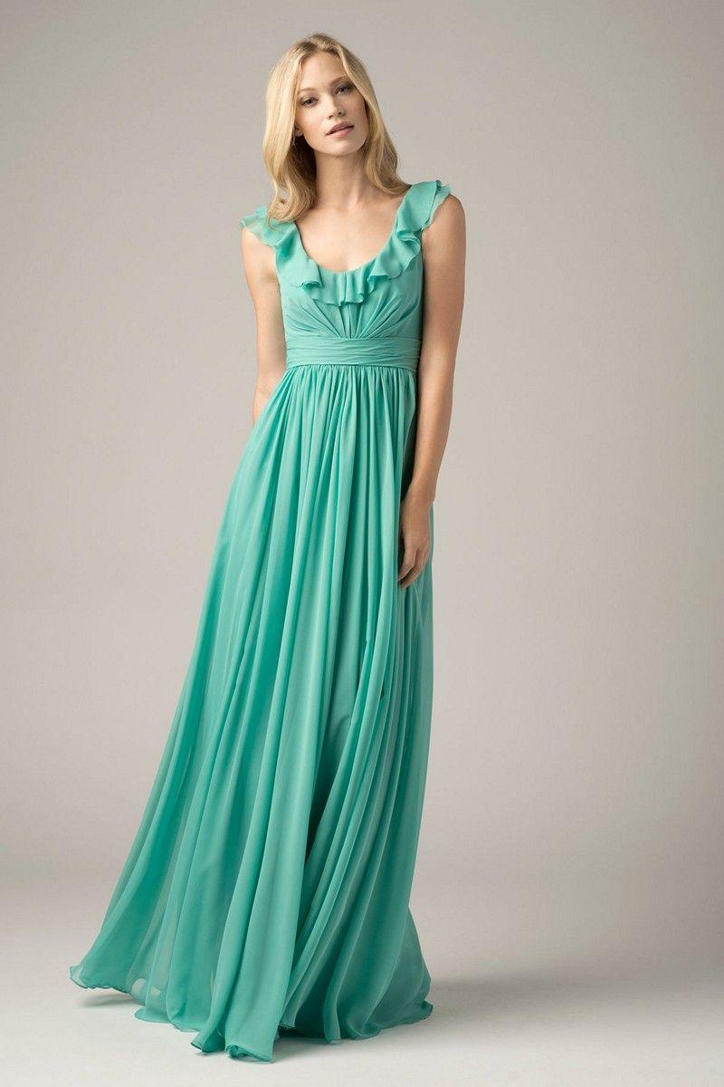 Wtoo dress ruffled scoop neckline ruched waistline wtoo