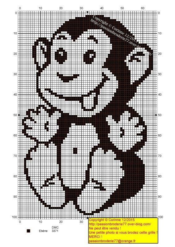 Petit singe 2 | Animales punto cruz | Pinterest | Babydecke muster ...