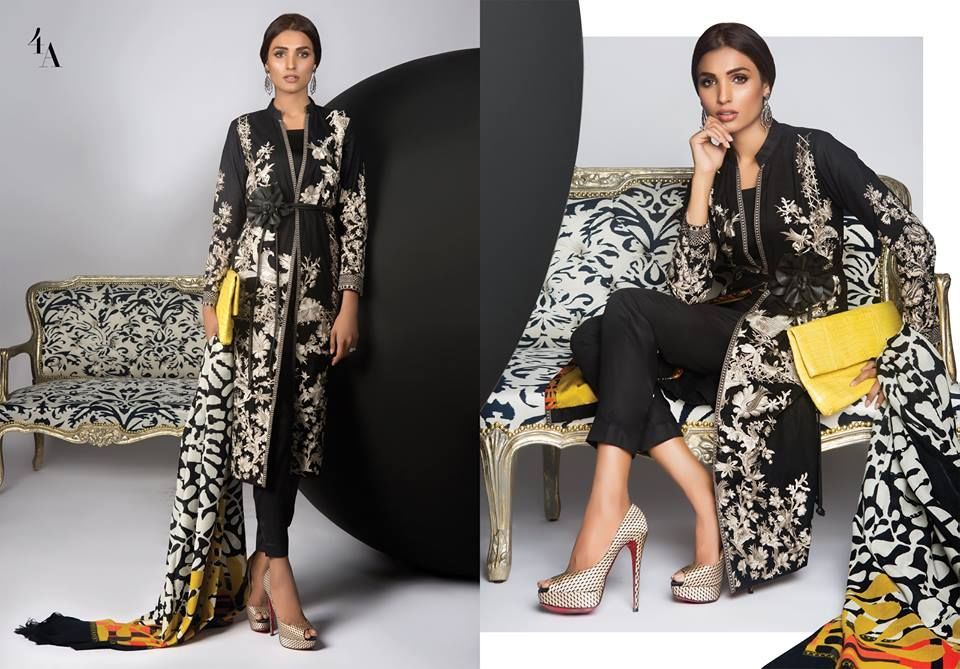 e9f9bc7075 Sana Safinaz Winter Shawl Collection 2016-2017 With Prices: Black kameez  with set embroidery in a beautiful cascading floral pattern in cream.