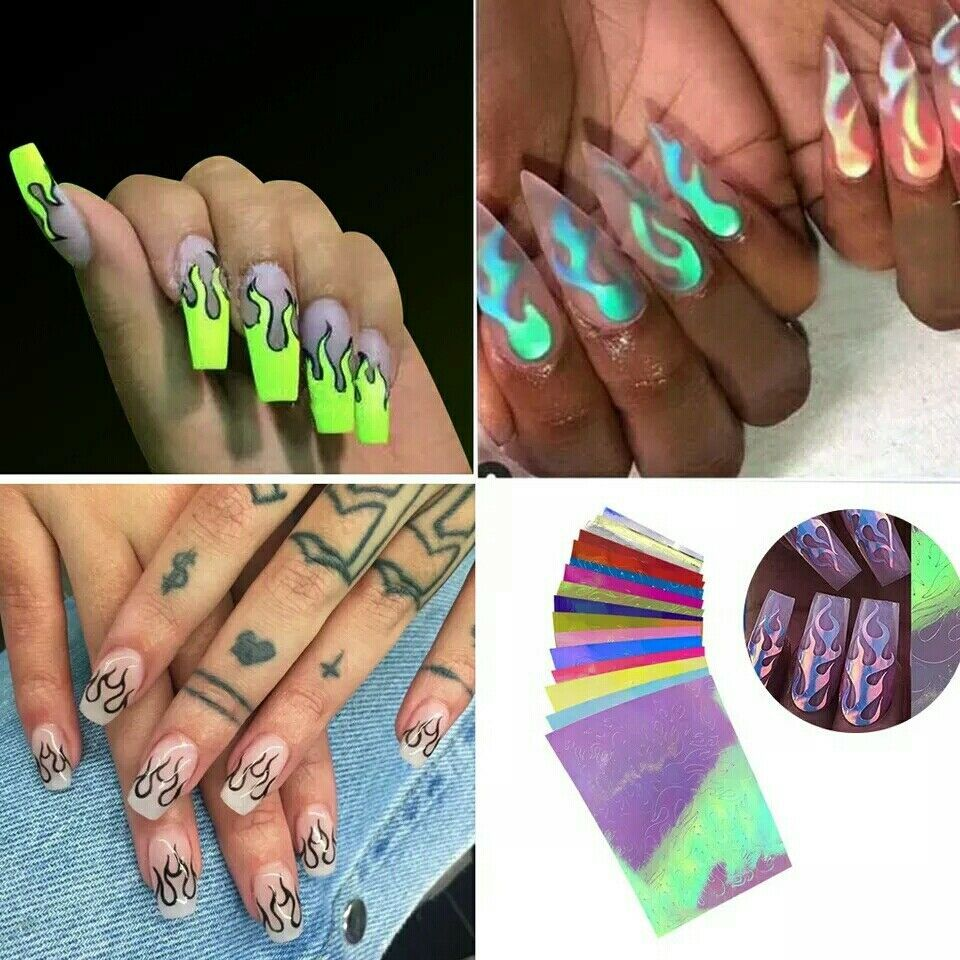 16pcs Holographic Fire Flame Hollow Sticker Fire Nail Art Manicure Sticker Usa P Unbranded Flame Nail Art Christmas Nail Stickers Nail Art Designs Diy