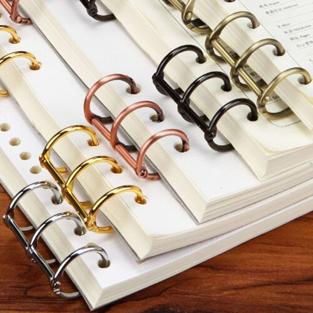 Practical Notebook Loose Leaf Binder 3-ring Gold Silver Loose-leaf Metal Split Hinged Rings Scrapbooking Binder Album Calendar Binding Combs & Spines