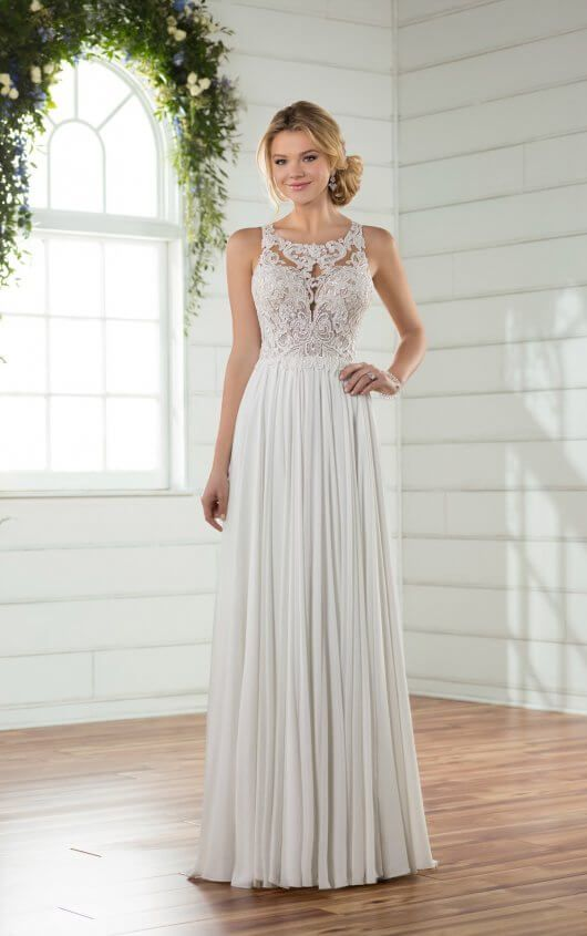 Casual Wedding Dress With Crepe Chiffon Skirt Wedding Dresses Essense Of Australia Wedding Dresses Casual Wedding Dress