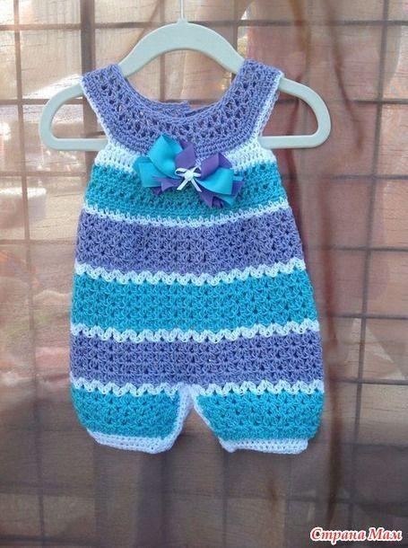 Tejidos A Crochet Modelo Enterizo Para El Verano Con Abertura Con Botones Para Un Mejor Manejo Del Cambi Crochet Baby Clothes Crochet Baby Dress Crochet Romper