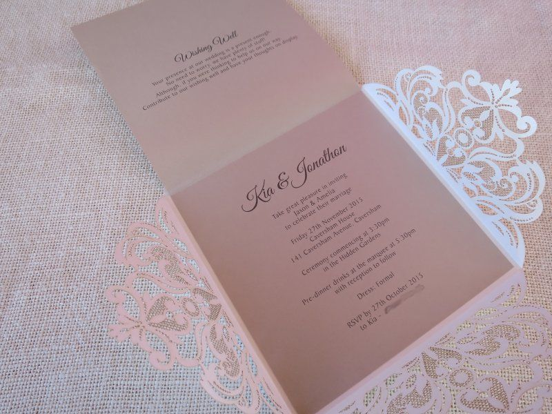 Wedding Invite- Rose, laser cut vintage styled from Lala Design ...