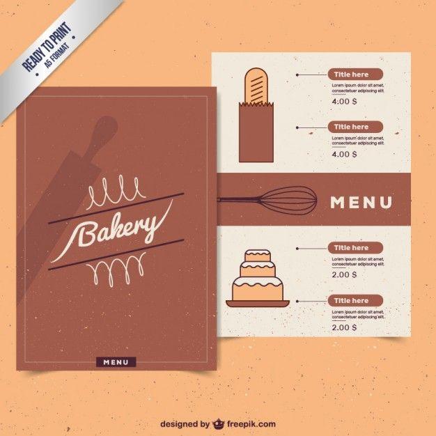 Molde Do Menu Da Padaria Do Vintage  Bakery Menu Vintage Bakery