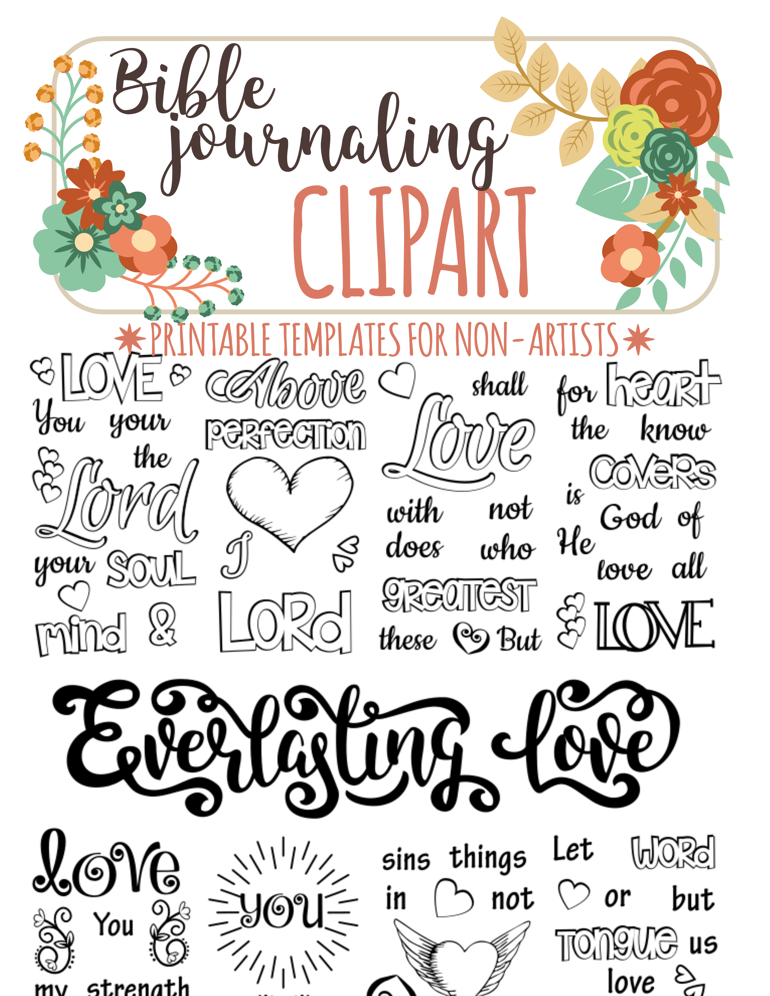 Bible Journaling Printable Clipart For Non Artists Just PRINT TRACE