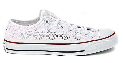 3ea99e74ad5362 New Converse Chuck Taylor Specialty Ox Crochet 549314C Optic White Red Blue  Wome