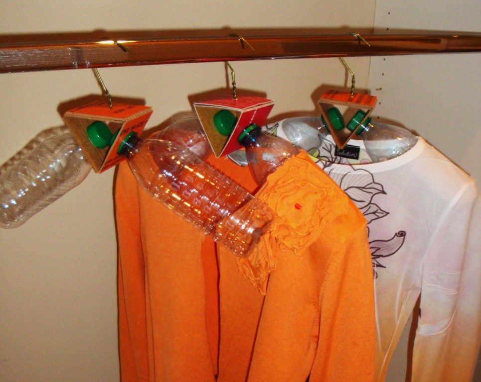 Hate wire hangers, have too many plastic bottles and plenty of closet space? Upcycle! (Thanks to Art for Housewives)