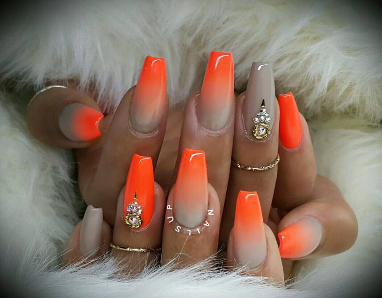 Ombre Nails Orange Grey Orange Ombre Nails Orange Nail Art Orange Nails