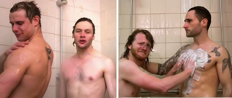 Gay men in shower
