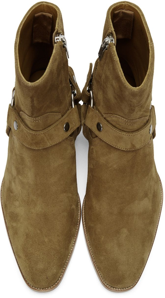 eaa390ca3e2 Saint Laurent - Brown Suede Wyatt Harness Boots | Shoes | Shoes ...
