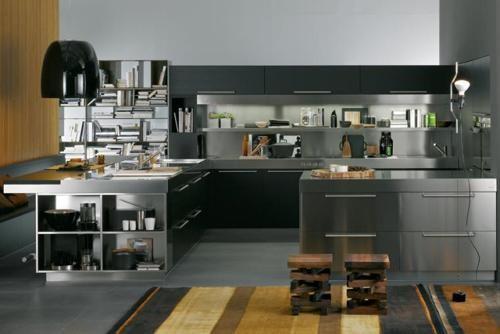 cocina-moderna-con-muebles-de-color-gris | madera | Pinterest ...