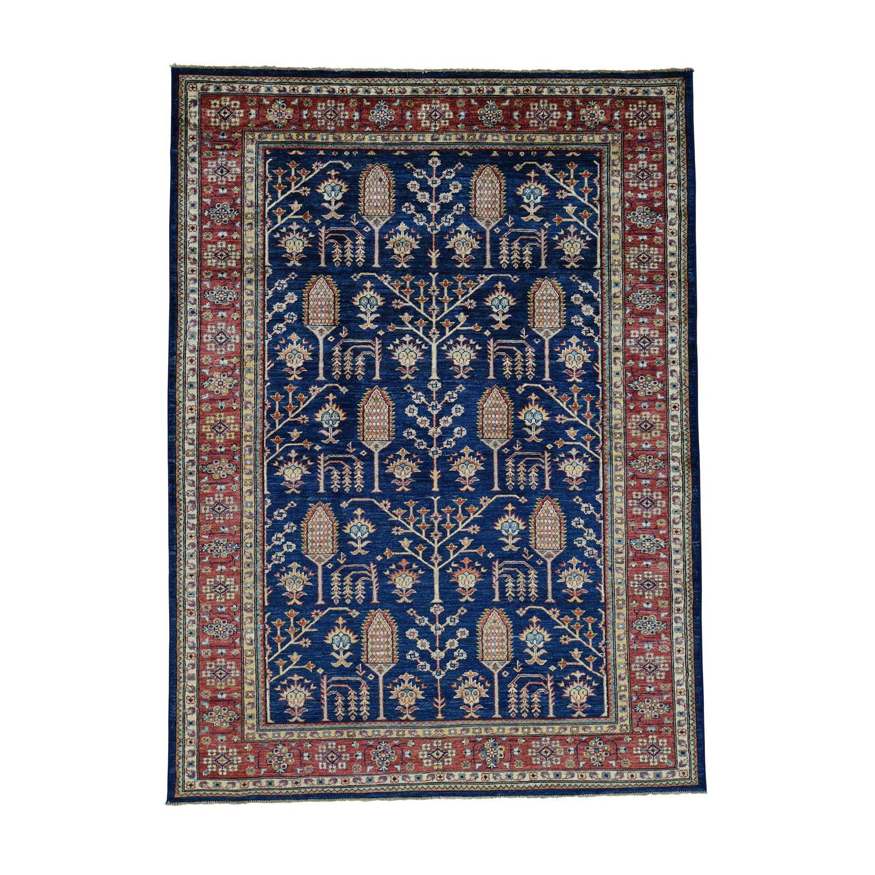 "1800getarug Super Kazak With Willow And Cypress Tree Design Rug (5'8x7'8) (Exact Size: 5'8"" x 7'8""), Blue, Size 6' x 8' (Wool, Oriental)"