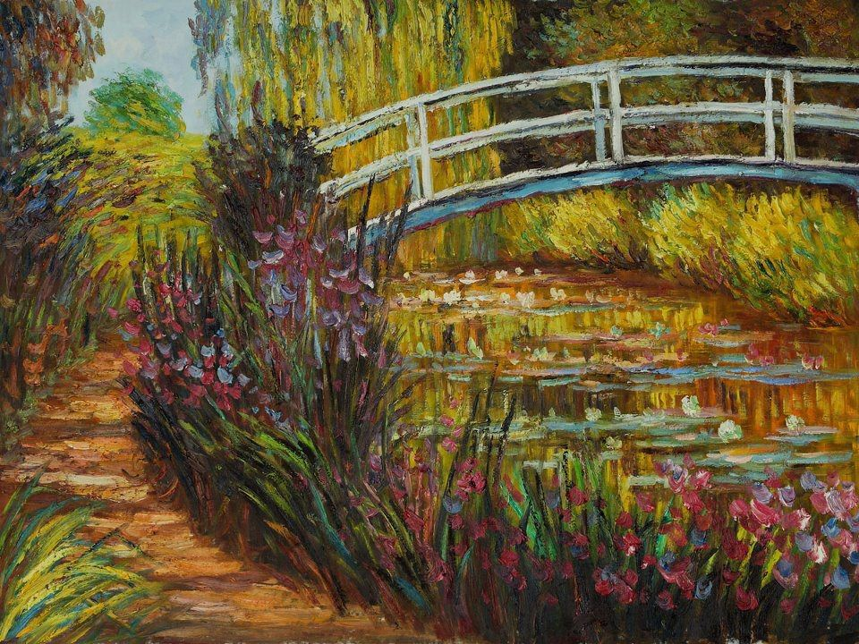 the painting of the japanese bridge by monet Japanese bridge at giverny (water lily pond), 1900 by claude monet | fine art painting reproduction 2300 at topofartcom.