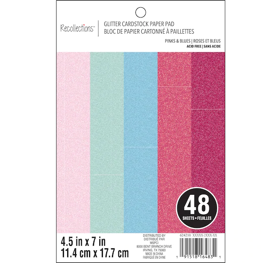 Pinks Blues Glitter 4 5 X 7 Cardstock Paper By Recollections 48 Sheets Cardstock Paper Card Stock Blue Glitter
