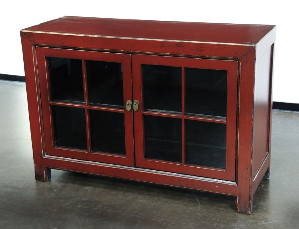 Beau Red Small Cabinet With Glass Doors NA041