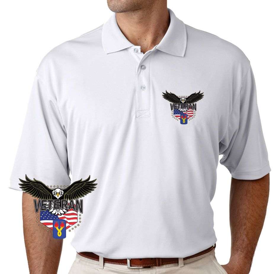 Grab a unique 196th Light Infantry Brigade w/Eagle Performance Polo Shirt today. These good looking polos will keep you cool as they are performance wicking, stain-resistant & offer UV Protection. Designed, Printed & Sublimated in the USA -Fabric Imported.