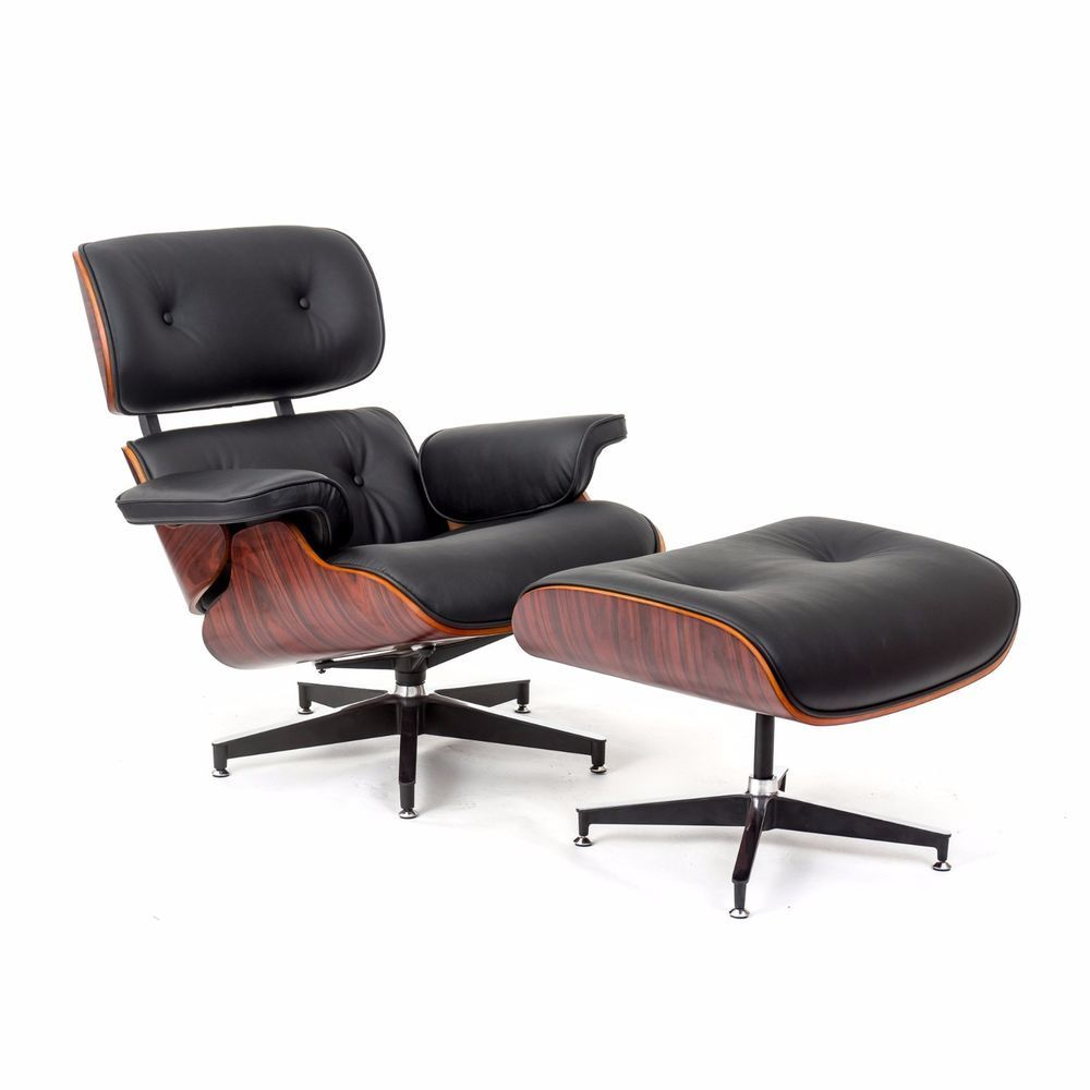 ebb eames style chair and ottoman black leather rose wood leather