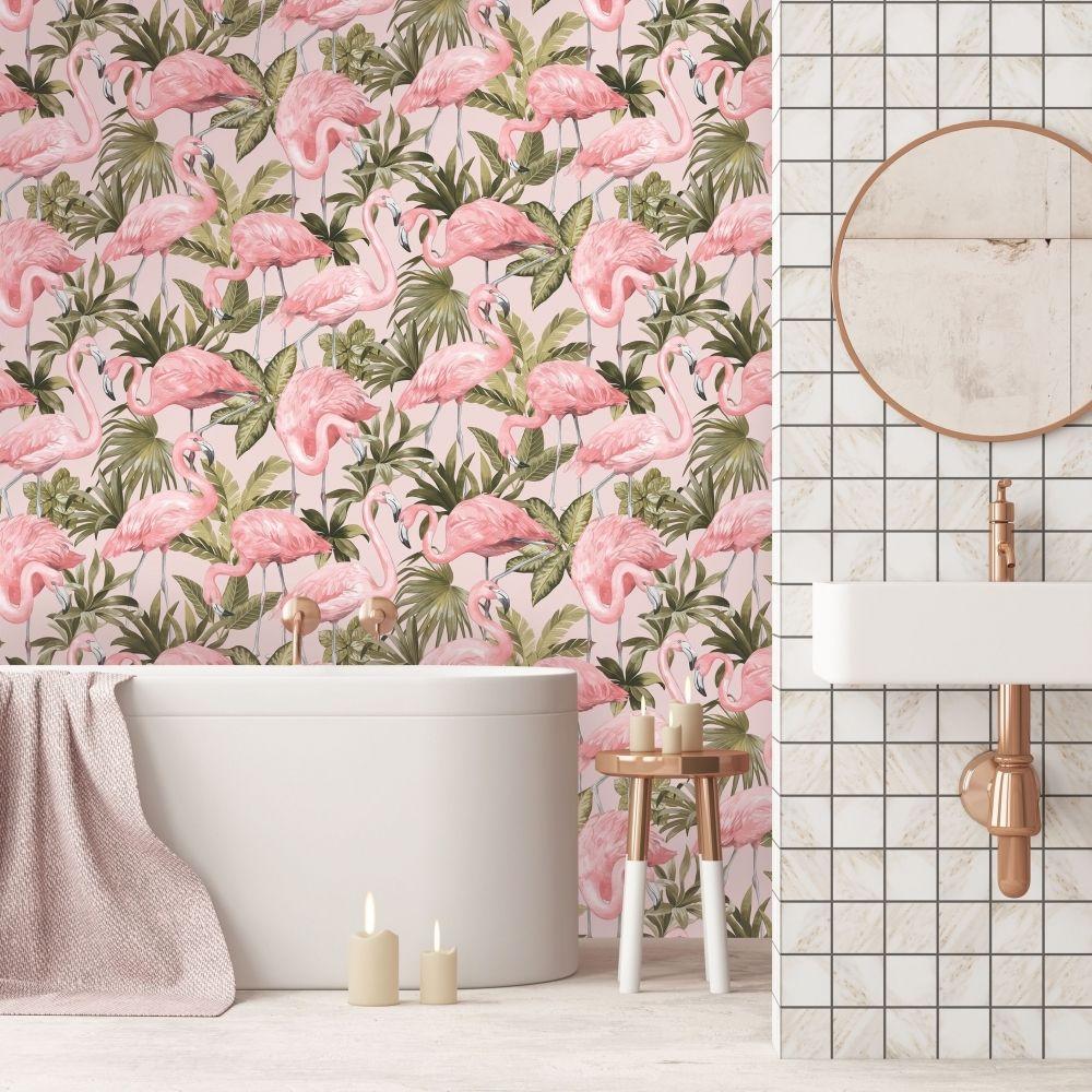 Flamingo Wallpaper Blush Pink In 2020 Flamingo Wallpaper Blush