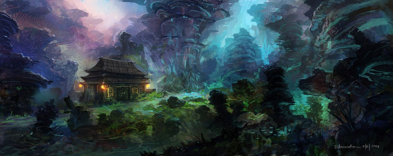 Glowing Forest Concept by MaxiimusT on DeviantArt