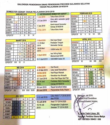 Kalender Pendidikan 2018 2019 Provinsi Sulawesi Selatan Pendidikan Kewarganegaraan Pendidikan Kalender Matematika