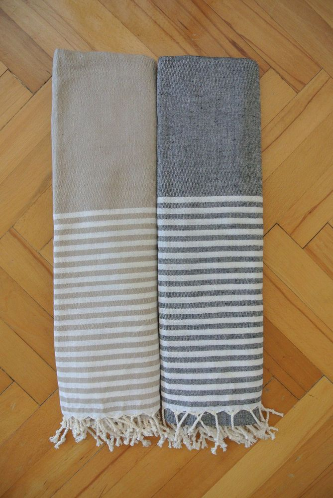 Details About 2 Pieces Peshtemals Beach Towel Black White Gray