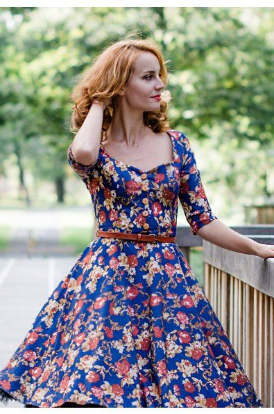 LORETTA Džínové vzorované šaty na knoflíčky LORETTA srdíčkový výstřih se  zapínaním na dřevěné knoflíčky 3  b4d2172604
