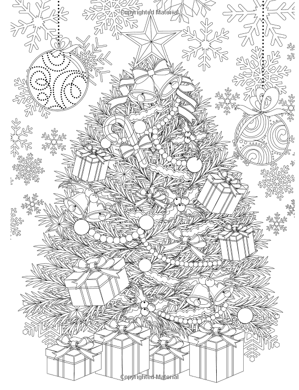 Adult Coloring Book Magic Christmas For Relaxation Tree Coloring Page For Adults