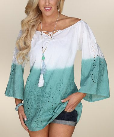 Love this Green & White Eyelet Ombre Off-Shoulder Tunic on #zulily! #zulilyfinds