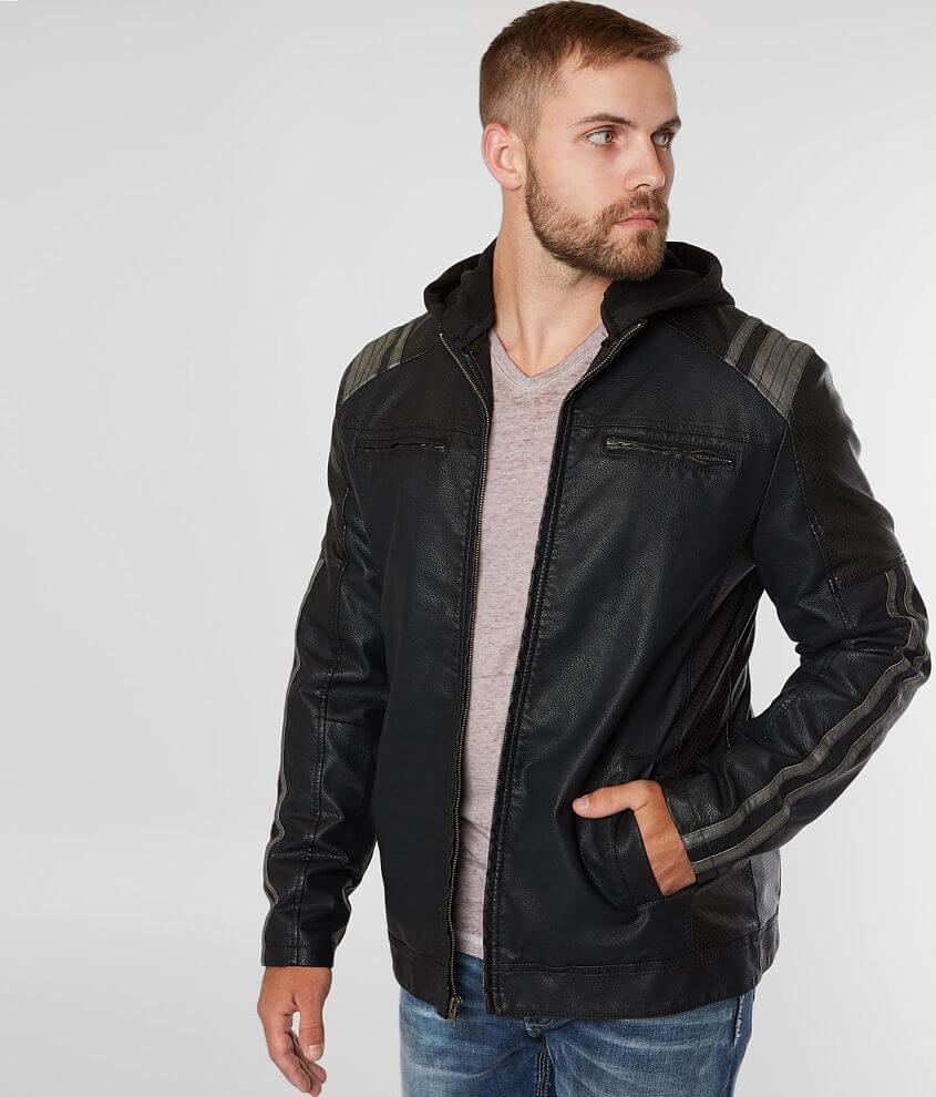 Buckle Faux Leather Hooded Jacket Men S Faux Leather Hooded Jacket Leather Jacket With Hood Hooded Jacket Men [ 990 x 845 Pixel ]