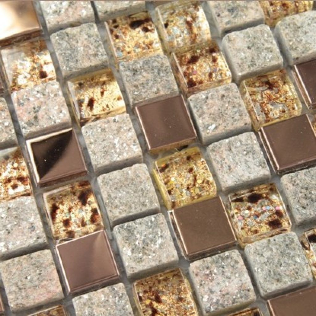 Natural Stone And Gl Mosaic Sheets Stainless Steel Backsplash Square Tiles Metal Tile Wall Kitchen
