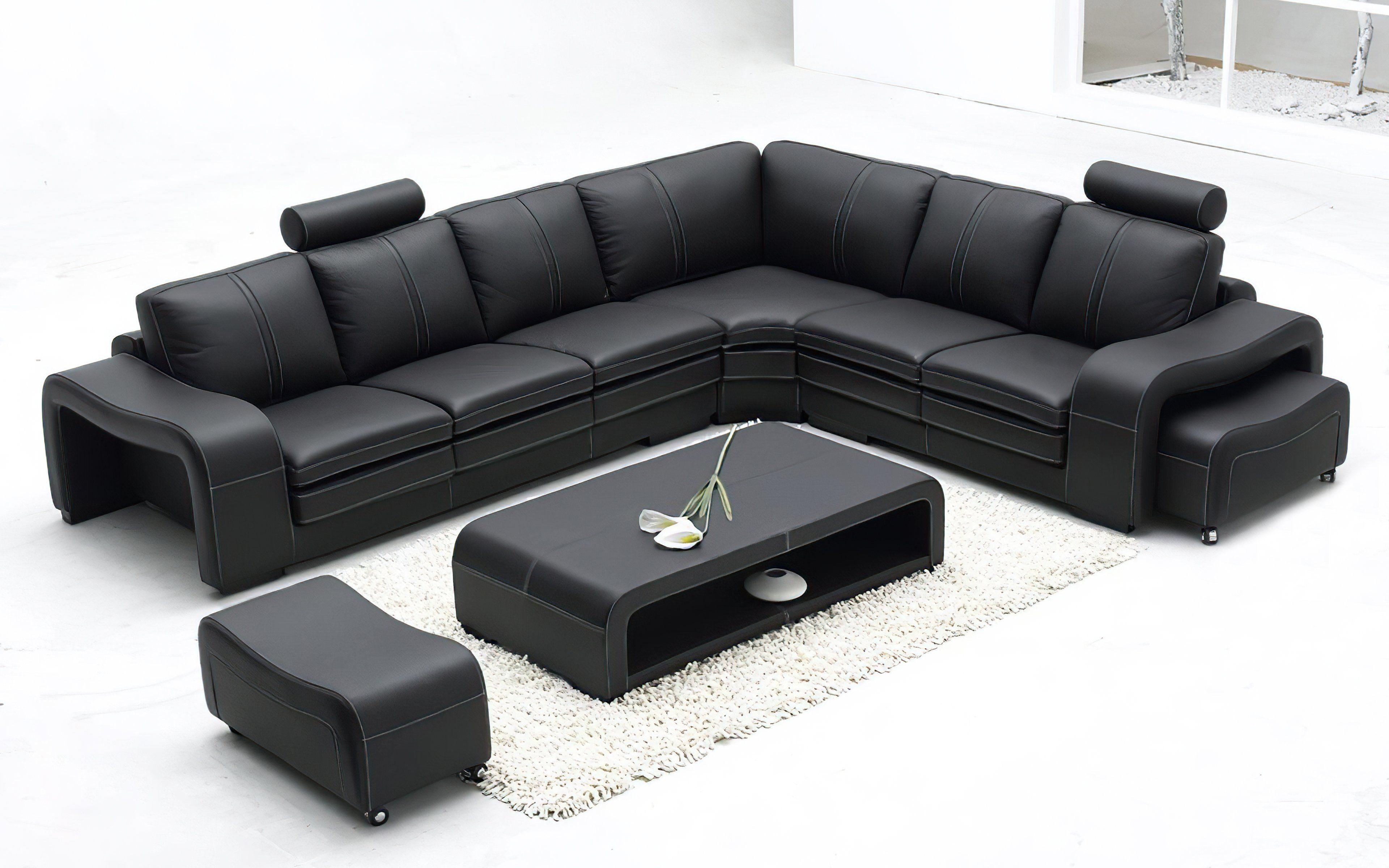 Aithen Modern Leather Sectional In 2021 Leather Sofa Set Leather Corner Sofa Black Modern Sofa
