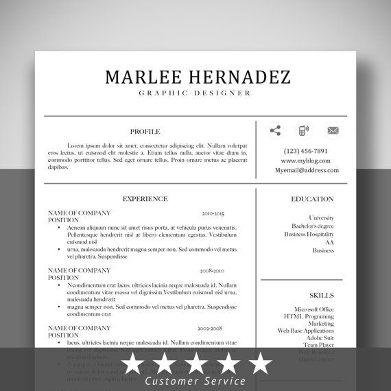 Resume Template CV+Cover Letter+tempate Designed Instand Download/Microsoft  Word Customizable