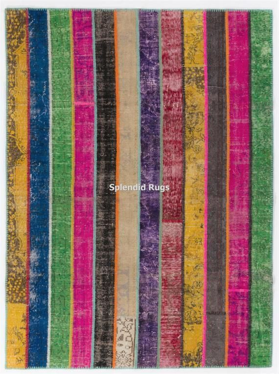 Rainbow Patchwork Rug Handmade from reDyed Vintage Turkish carpets Custom options availabl Rainbow Patchwork Rug Handmade from reDyed Vintage Turkish carpets Custom optio...