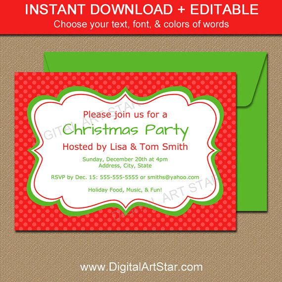 Red printable christmas invitation with text you can edit yourself red printable christmas invitation with text you can edit yourself christmasparty solutioingenieria Image collections