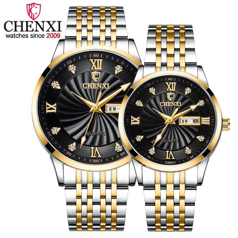 #2020 #new #couple #watches #luxury #brand #chenxi #men #quartz #women's #golden #full #steel #waterproof #clock #dress #lady #watch