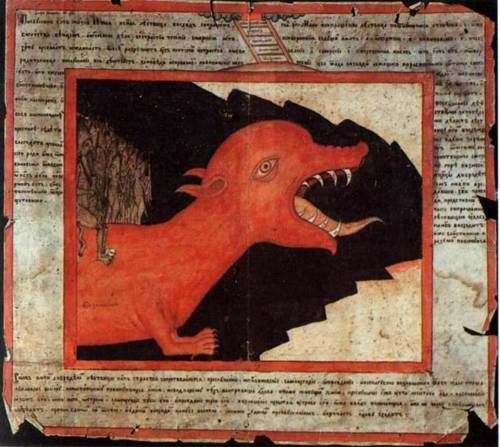 A Monster from Hell, 19th-century Russian hand-drawn lubok