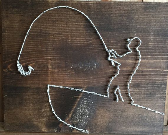 Fisherman string art gifts for dad fishing gift by for Fish string art