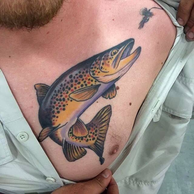 b08f3f5dba4c6 Trout with lure by Matt Miskol at Yellow Rose Tattoo; Salt Lake City, UT.