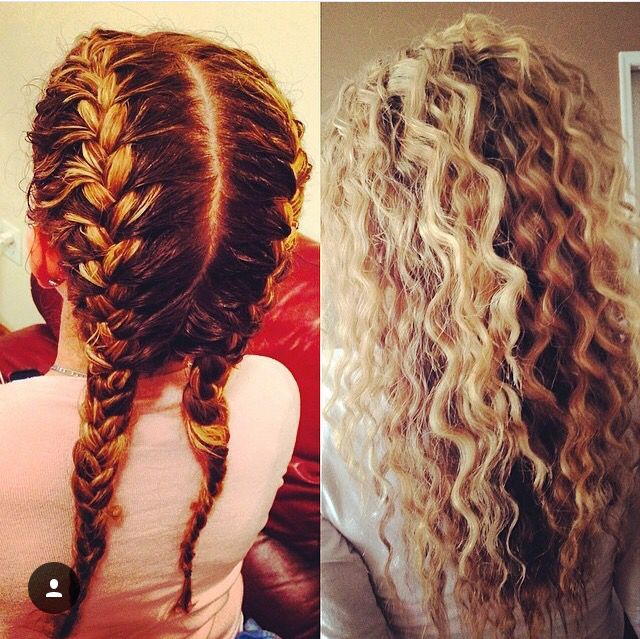 Two French Braids Sprayed With Water Spray And Crimpy Hair Is The Result Wavy Hair Overnight Hair Waves Curly Hair Styles