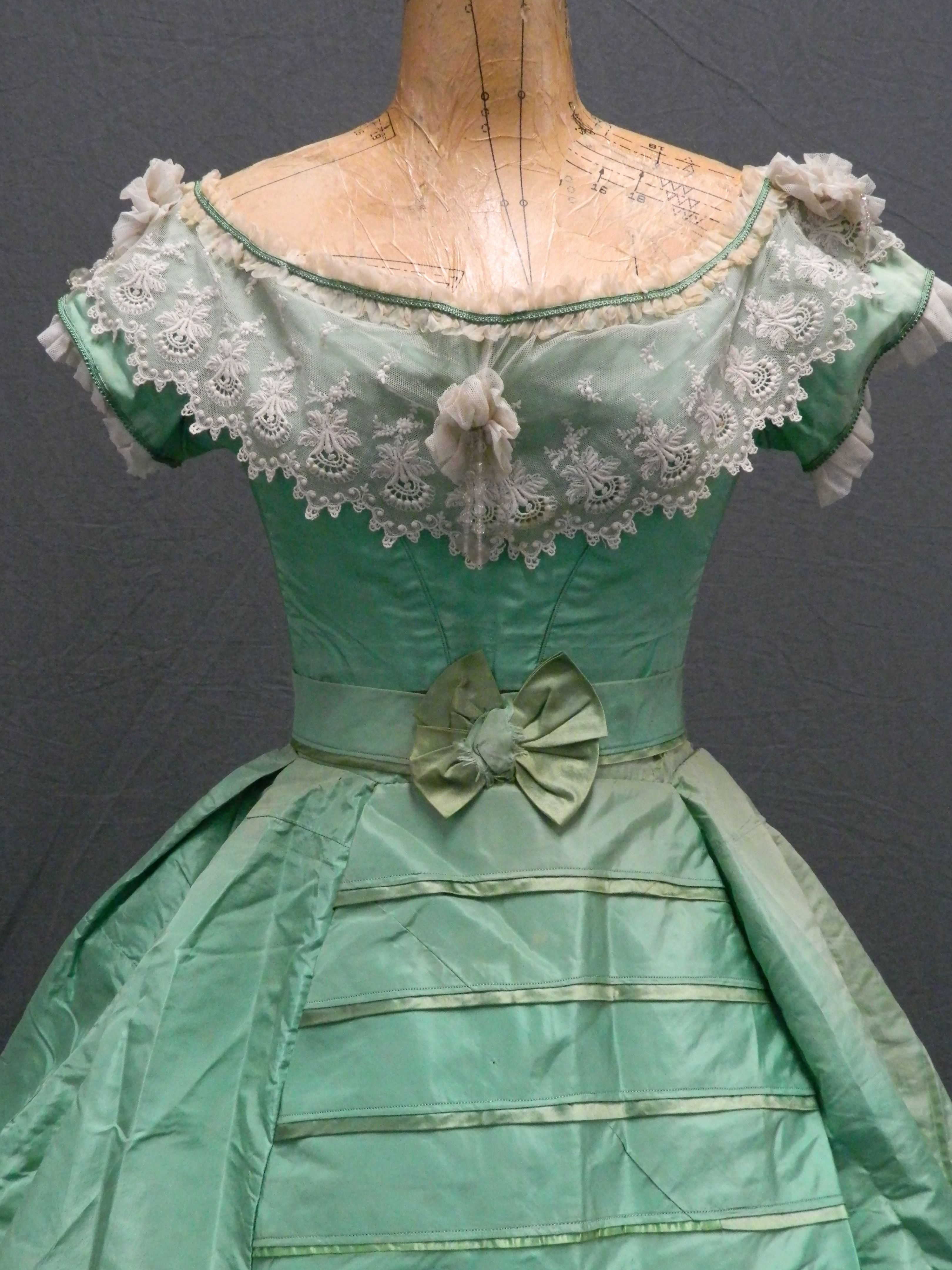 An 'arsenic green', mid 19th century dress, Eleanor Keene. (No source - I suspect ebay. C. 1865 from what I can see.)