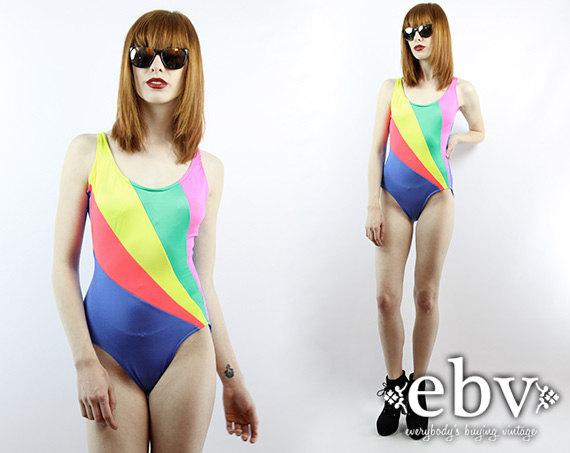 d854178aff196 Vintage Bathing Suits ·  Vintage 80s  Rainbow One Piece Bathing Suit