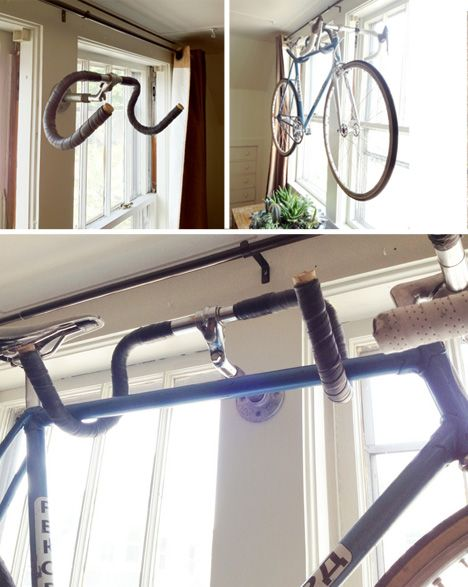 diy repurpose an old bike handle bar as a indoor bike rack - Indoor Bike Rack