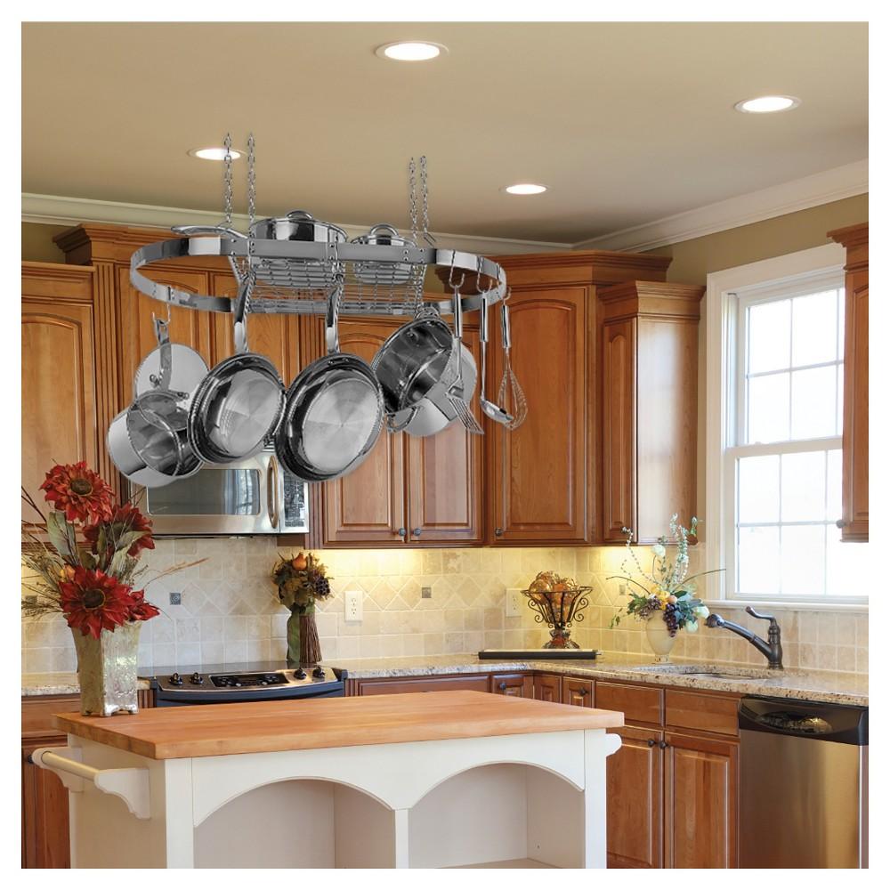 Range Kleen Oval Hanging Pot Rack Stainless Steel Kitchen Cabinet Design Hanging Pot Rack Kitchen Remodel