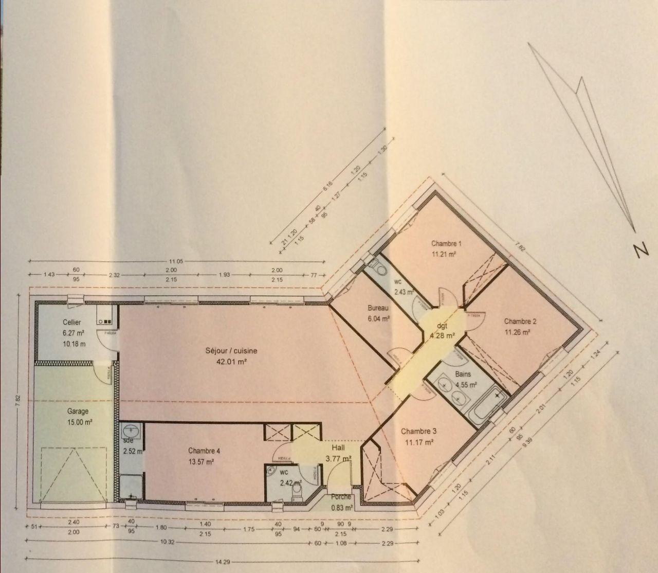 Plan de maison plans de maisons en l ou en v ambares et lagrave gironde 33 aout 2015 - Plan maison plain pied 120m2 ...